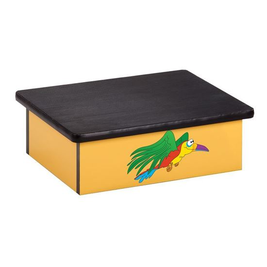 Picture of 10-R - Step Stool Featuring Flying Parrot on Yellow