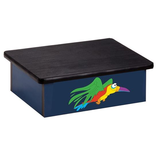 Picture of 10-RPB - Step Stool Featuring Flying Parrot on Blue